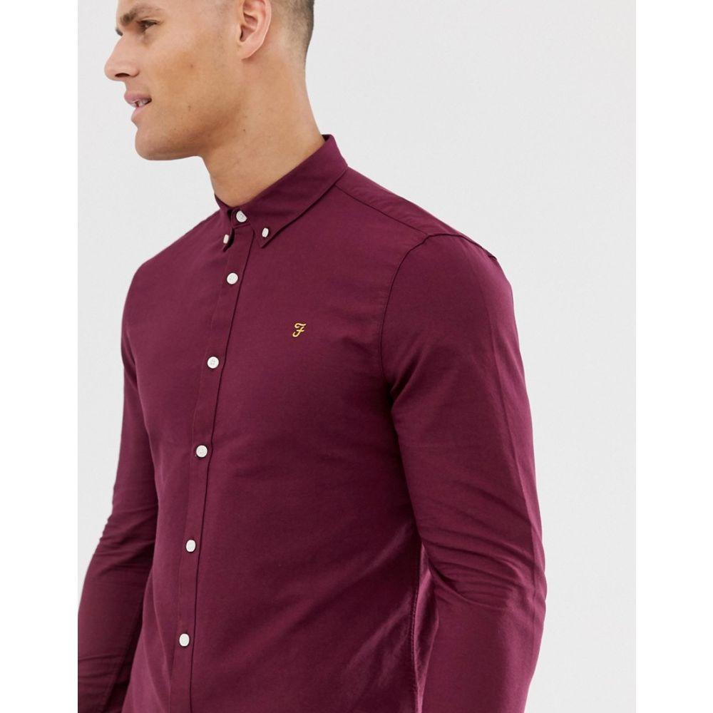 ファーラー メンズ トップス シャツ【Farah Brewer Oxford Shirt Slim Fit Buttondown in Bordeaux】Bordeaux