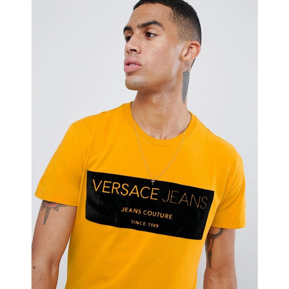 ヴェルサーチ Versace Jeans メンズ トップス Jeans Tシャツ【t-shirt with メンズ logo ヴェルサーチ print】Yellow, 東松浦郡:61fc3575 --- officewill.xsrv.jp