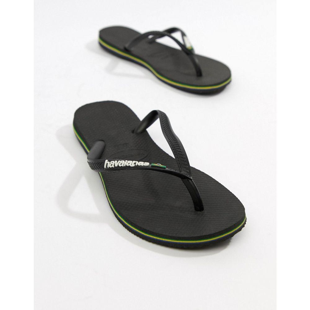 ハワイアナス Havaianas レディース シューズ・靴 ビーチサンダル【Brasil logo flip flops in black】Black
