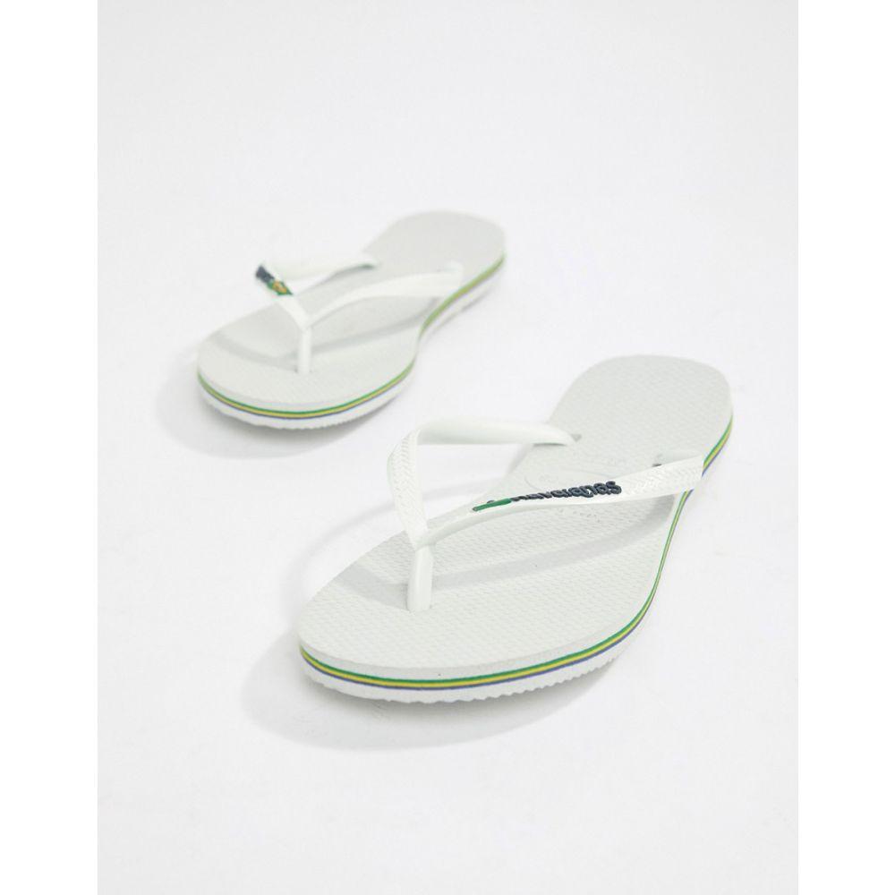 ハワイアナス Havaianas レディース シューズ・靴 ビーチサンダル【Brasil logo flip flops in white】White