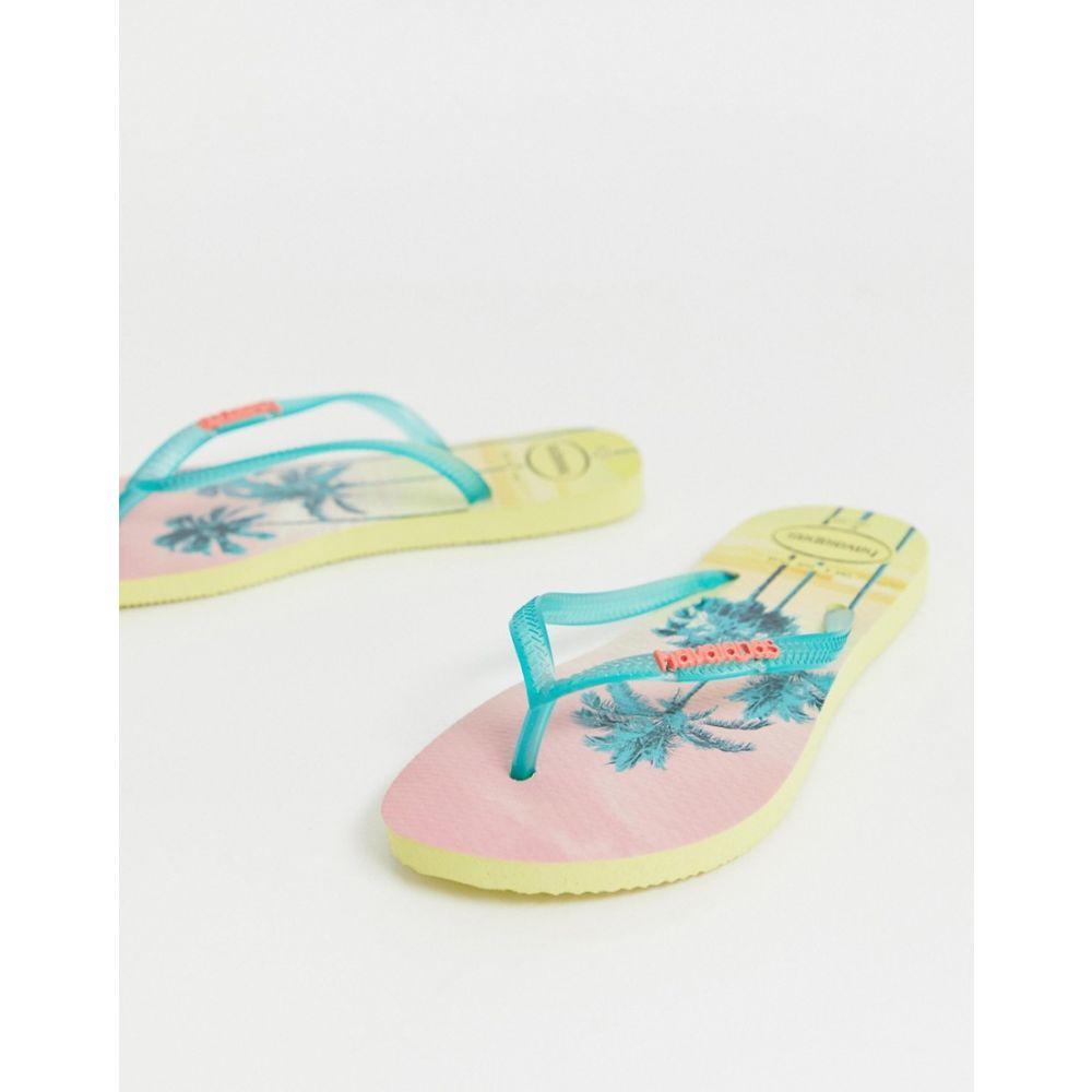 ハワイアナス Havaianas レディース シューズ・靴 ビーチサンダル【slim flip flops in tropical palm print】Pollen yellow