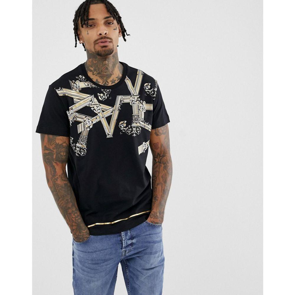 ヴェルサーチ Versace Jeans Jeans メンズ トップス Tシャツ Tシャツ【t-shirt【t-shirt with with logo print in black】Black, DOG LUCK:e30e9f38 --- rods.org.uk
