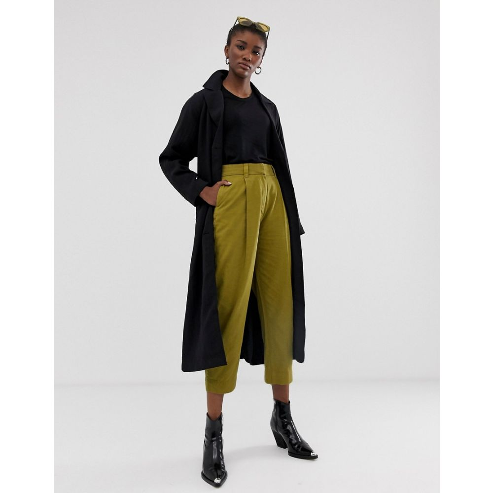 ウィークデイ Weekday レディース ボトムス・パンツ【tailored trousers in olive】Yellowgreen