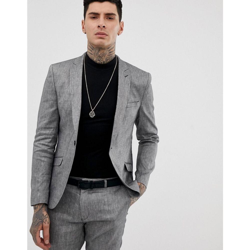 ハートアンドダガー Heart & Dagger メンズ アウター スーツ・ジャケット【skinny fit suit jacket in grey linen mix】Grey