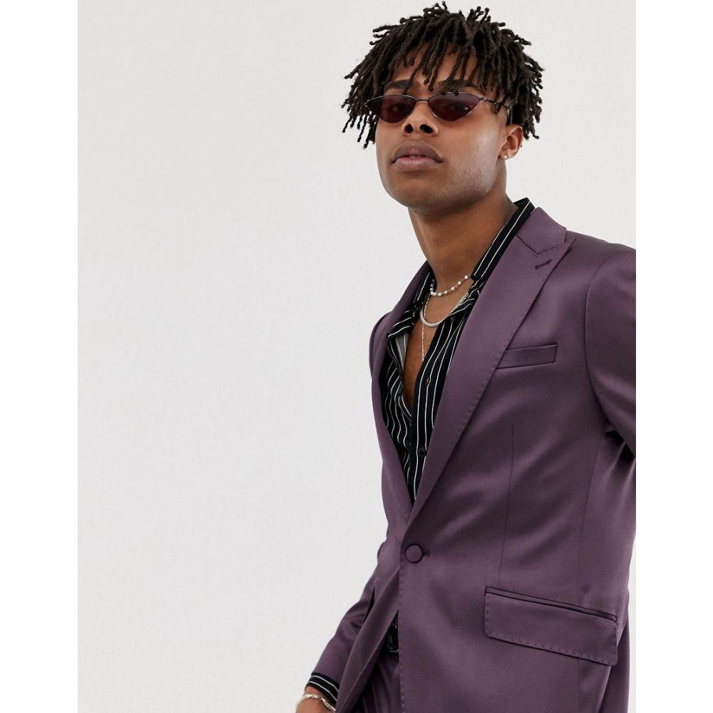 ハートアンドダガー Heart & Dagger メンズ アウター スーツ・ジャケット【skinny sb1 peak suit jacket in shimmer】Purple
