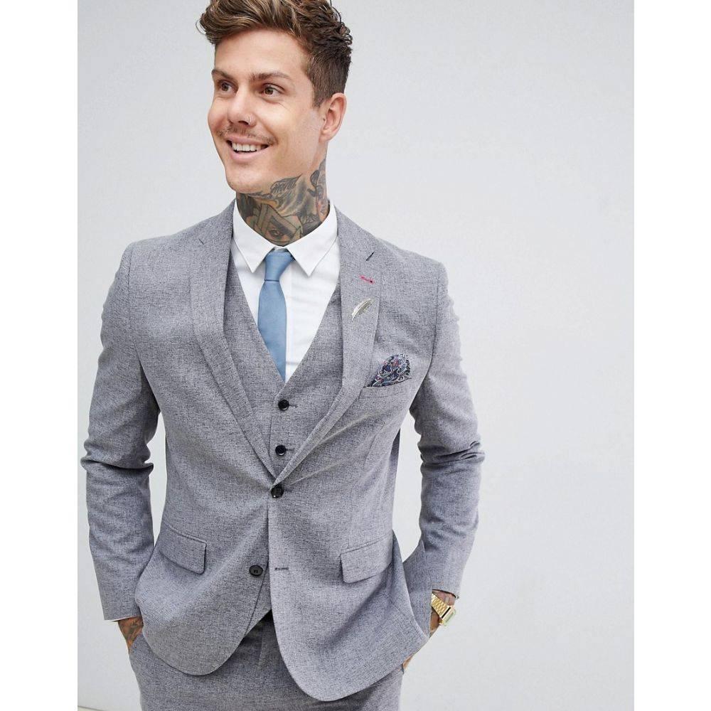 ハリー ブラウン Harry Brown メンズ アウター スーツ・ジャケット【slim fit grey fleck suit jacket】Grey
