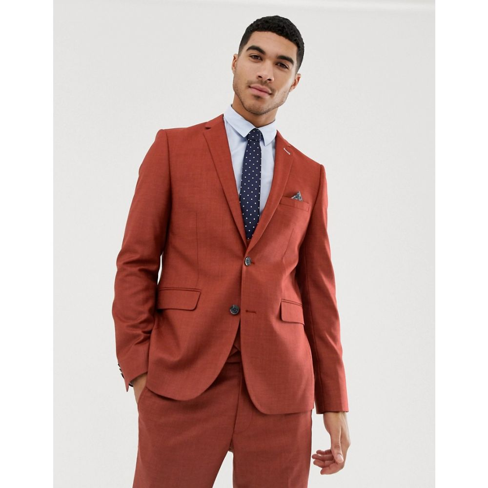 ハリー ブラウン Harry Brown メンズ アウター スーツ・ジャケット【skinny fit burnt red stretch textured suit jacket】Red