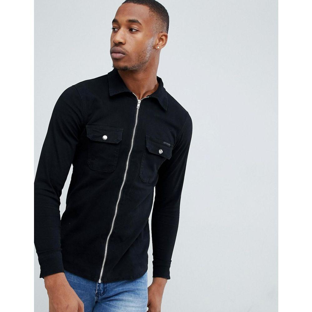 リカーアンドポーカー Liquor N Poker メンズ トップス シャツ【shirt with zip cuff in washed black】Black