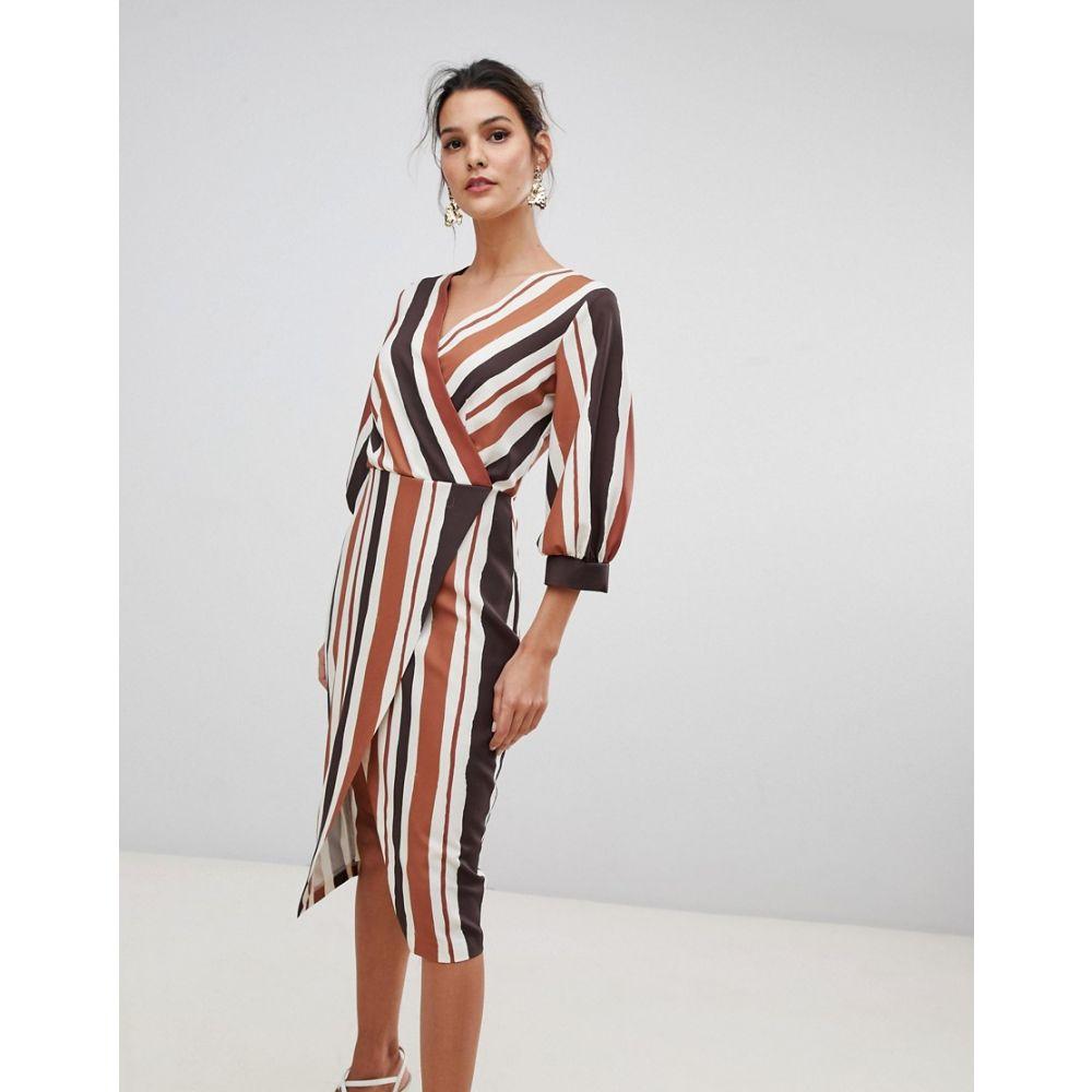 クローゼットロンドン Closet London レディース ワンピース・ドレス ワンピース【wrap dress in contrast stripe】Multi