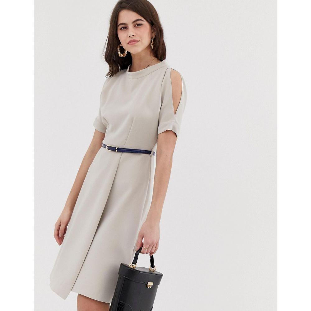 クローゼットロンドン Closet London レディース ワンピース・ドレス ワンピース【Closet a line open shoulder dress】Taupe