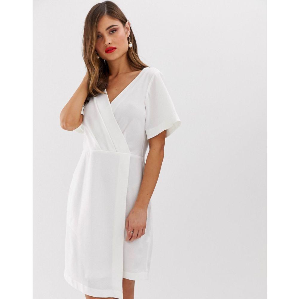 クローゼットロンドン Closet London レディース ワンピース・ドレス ワンピース【wrap front mini shift dress in white】White