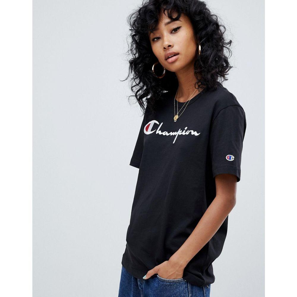 チャンピオン Champion レディース トップス Tシャツ【oversized t-shirt with front logo】Black