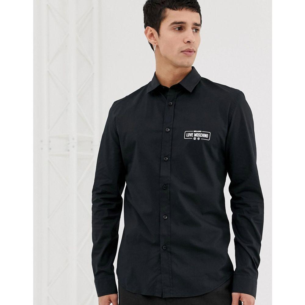 モスキーノ Love Moschino メンズ トップス シャツ【chest logo shirt】Black