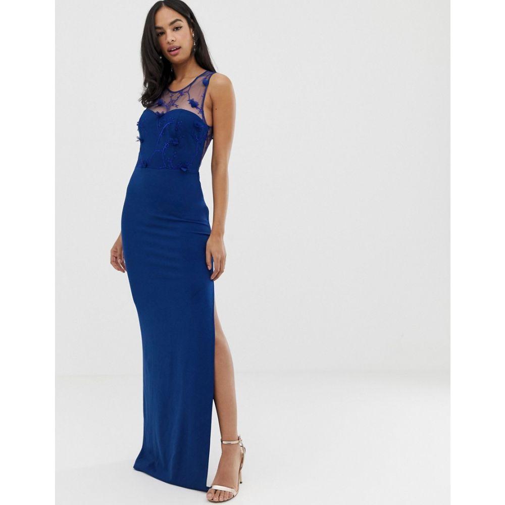 シティゴッデス City Goddess レディース ワンピース・ドレス ワンピース【strappy detail maxi dress with thigh split】Royal blue