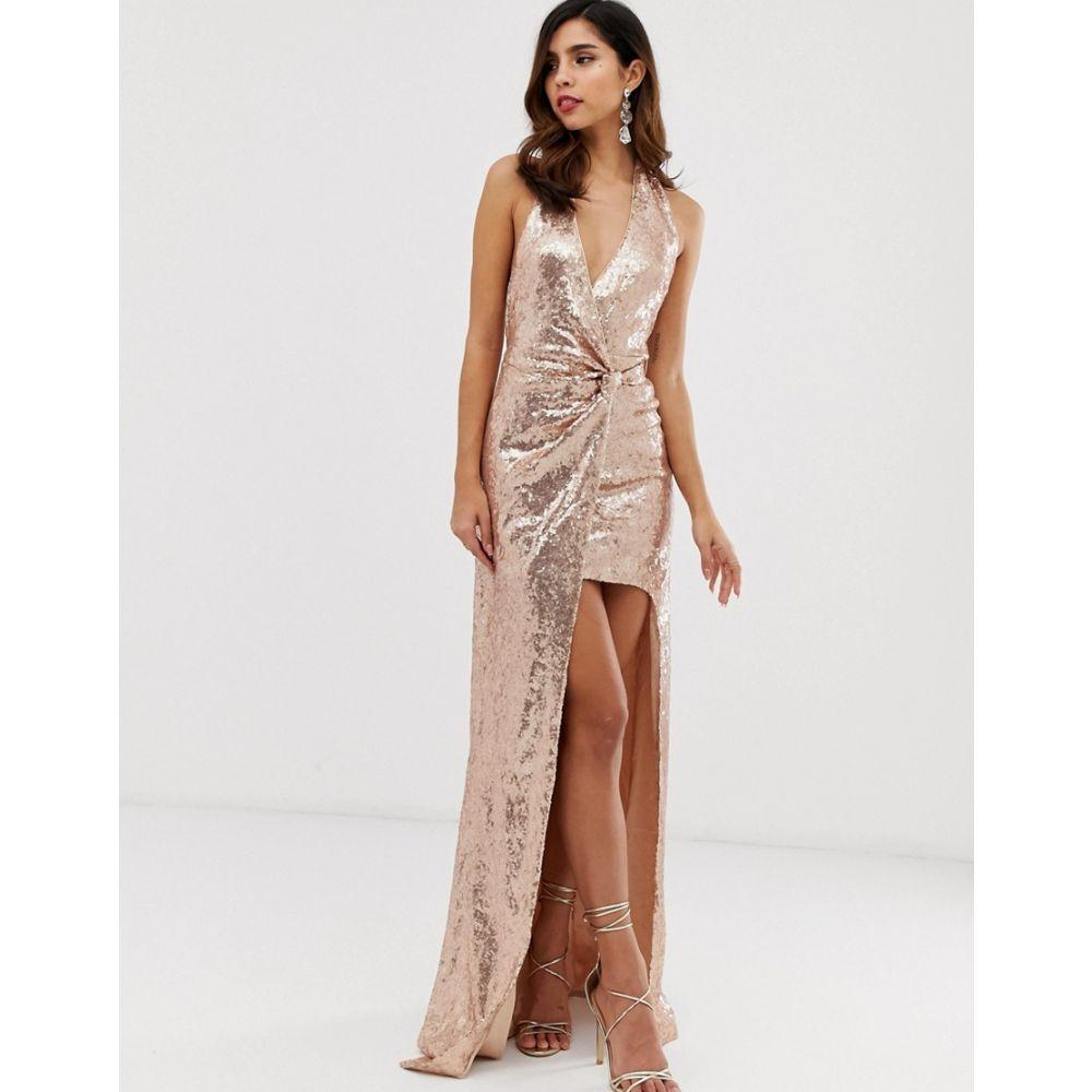 シティゴッデス City Goddess レディース ワンピース・ドレス ワンピース【extreme split all over sequin maxi dress】Champagne