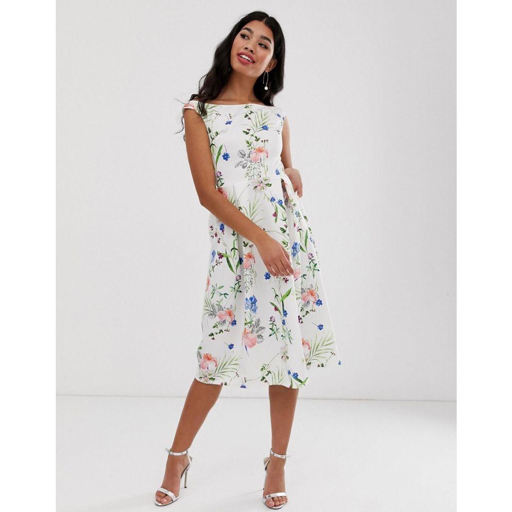 トゥルーヴァイオレット True Violet レディース ワンピース・ドレス ワンピース【floral off shoulder skater dress】White floral