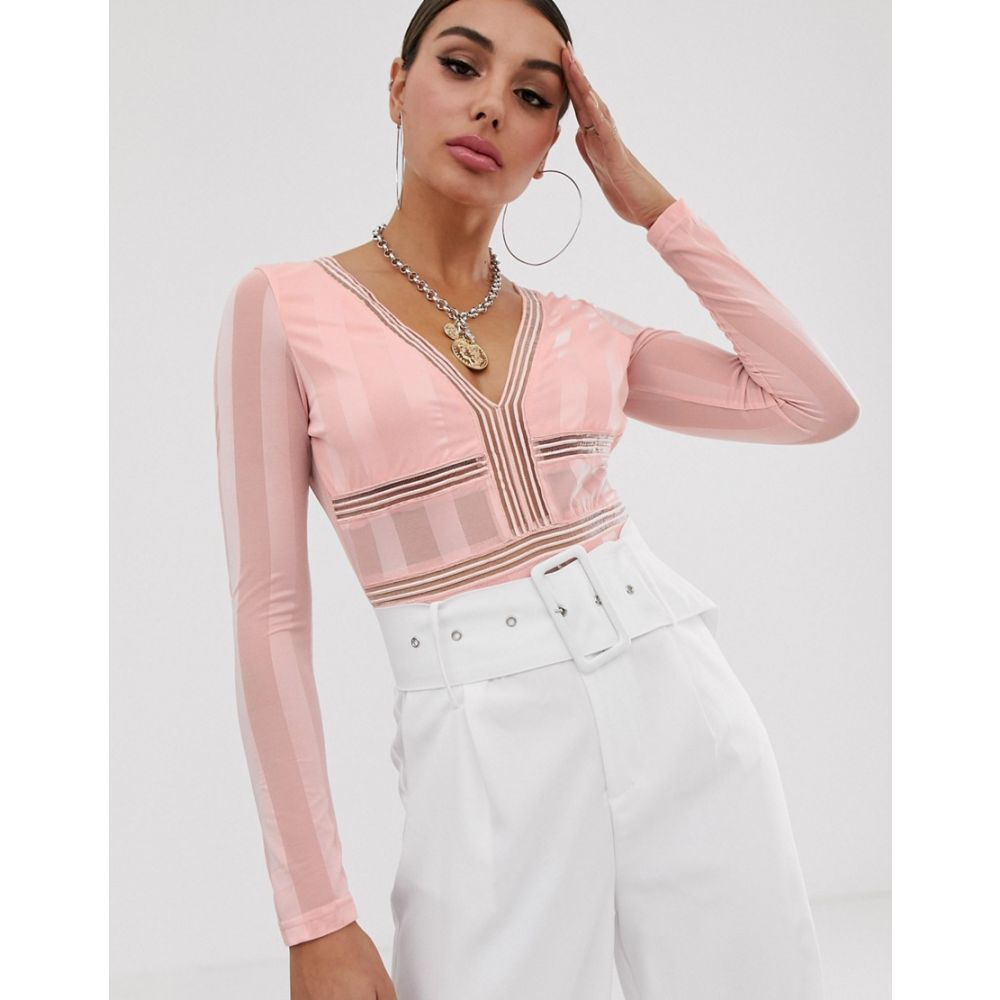 ナーナー NaaNaa レディース インナー・下着 ボディースーツ【long sleeve plunge bodysuit in stripe mesh in pink blush】Pink blush