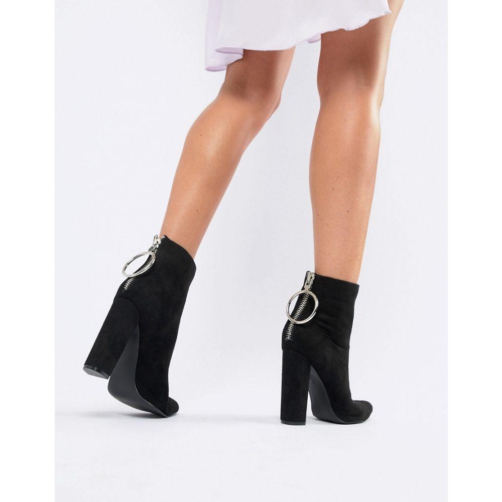 パブリックディザイア Public Desire レディース シューズ・靴 ブーツ【Fleek Black Ring Detail Heeled Boots】Black su