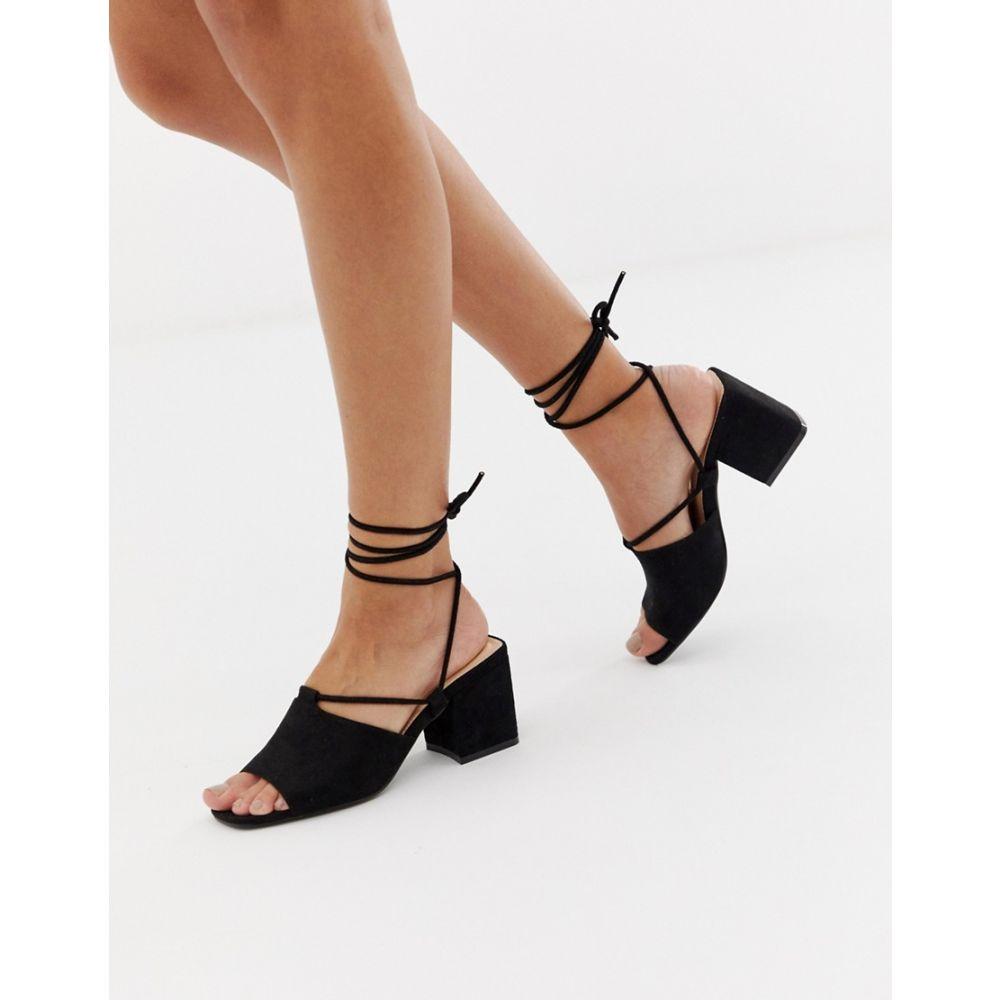 パブリックディザイア Public Desire レディース シューズ・靴 サンダル・ミュール【Heidi black ankle tie mid heeled sandals】Black micro