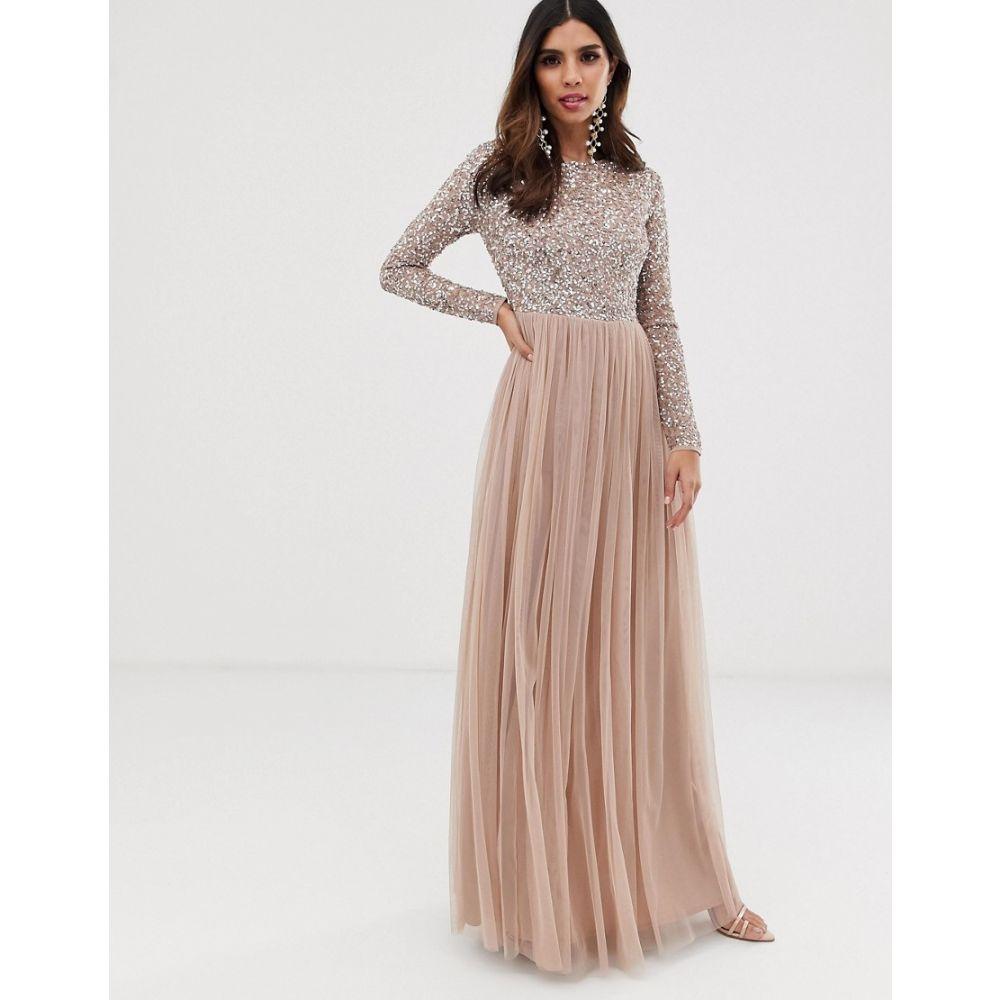 マヤ Maya レディース ワンピース・ドレス ワンピース【Bridesmaid long sleeve maxi tulle dress with tonal delicate sequins in taupe blush】Taupe blush