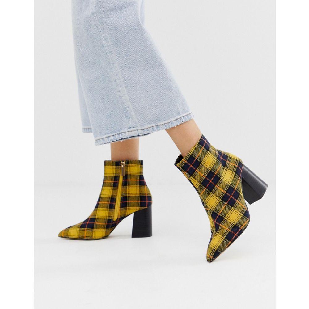 Selfridge heeled セルフリッジ シューズ・靴 boots in check】Mustard Miss ミス ブーツ【pointed レディース