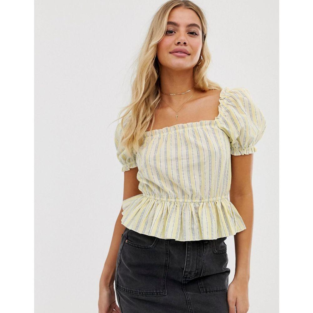 ミス セルフリッジ Miss Selfridge レディース トップス【peplum top with puff sleeves in stripe】Yellow