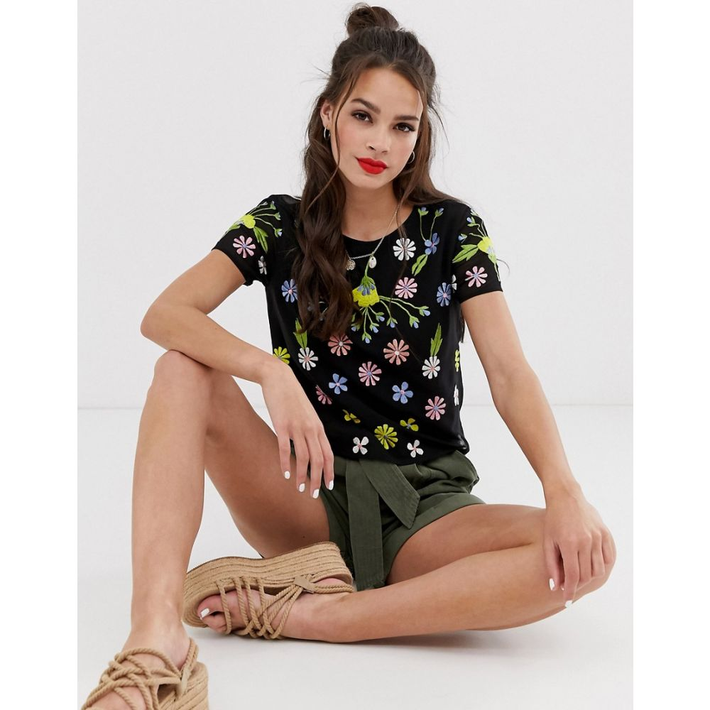 ミス セルフリッジ Miss Selfridge レディース トップス Tシャツ【tee with floral embroidery in black】Black