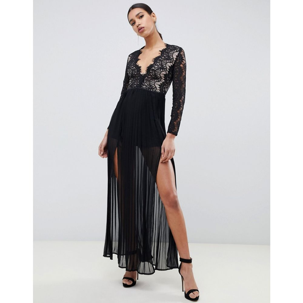 ラーレ Rare レディース ワンピース・ドレス ワンピース【London maxi dress with scalloped lace detail in black】Black