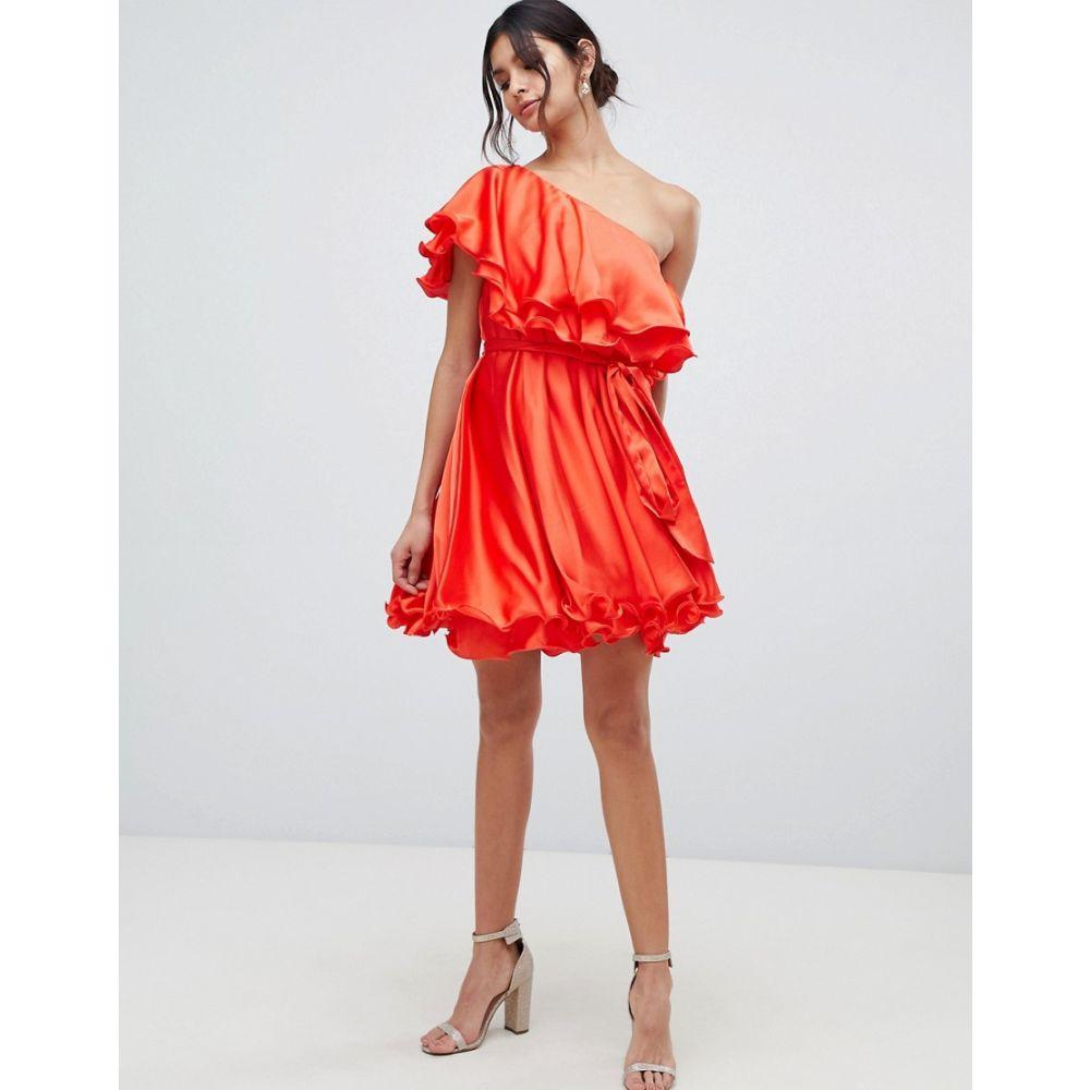 フォーエバーユニーク Forever Unique レディース ワンピース・ドレス ワンピース【ruffle one shoulder mini dress】Red