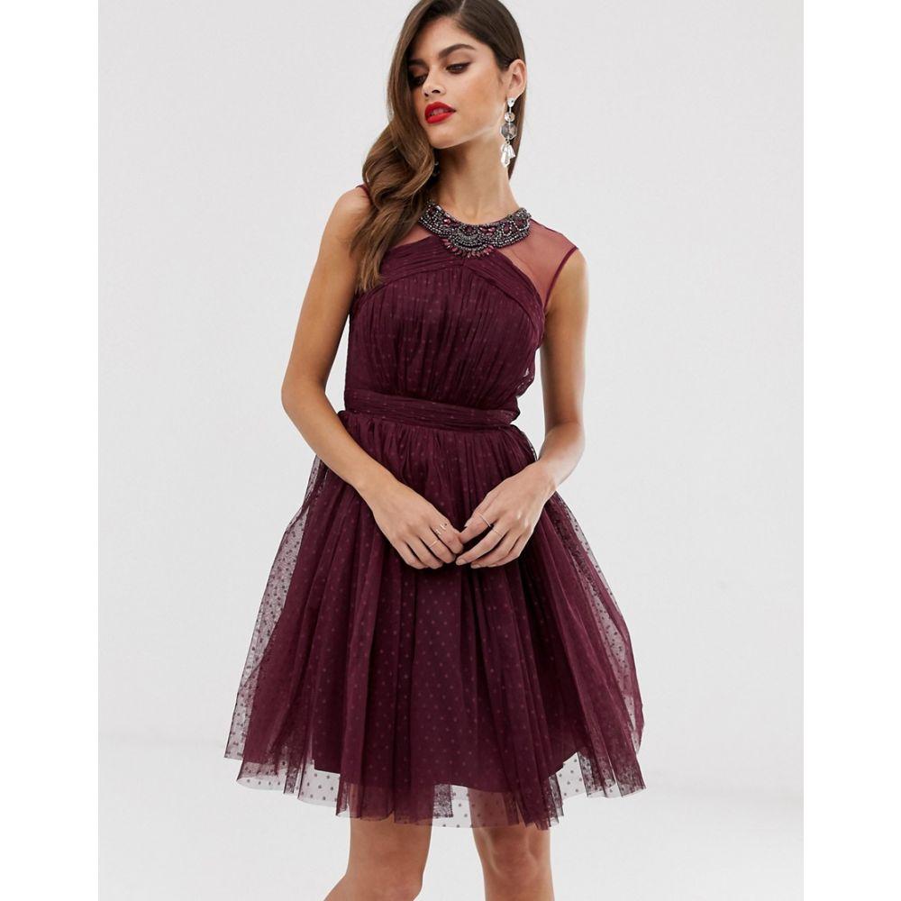 リトル ミストレス Little Mistress レディース ワンピース・ドレス ワンピース【mesh detail skater dress with neck detail】Deep purple