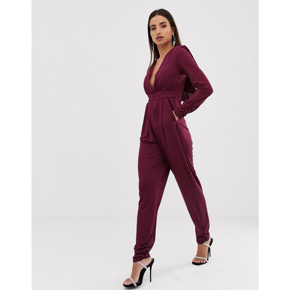 フォーエバーユニーク Forever Unique レディース ワンピース・ドレス オールインワン【cape plunge jumpsuit】Purple