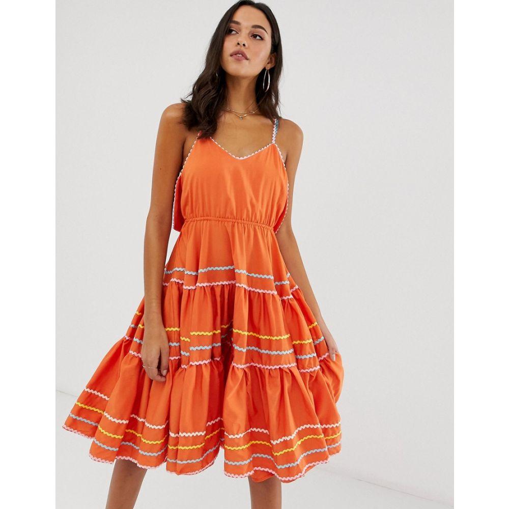 フォーエバーユニーク Forever Unique レディース ワンピース・ドレス ワンピース【embroidered midi skater dress】Orange