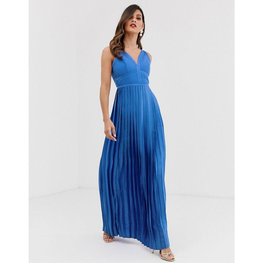 リトル ミストレス Little Mistress レディース ワンピース・ドレス ワンピース【panelled bodice pleated skirt satin maxi dress】Azure blue