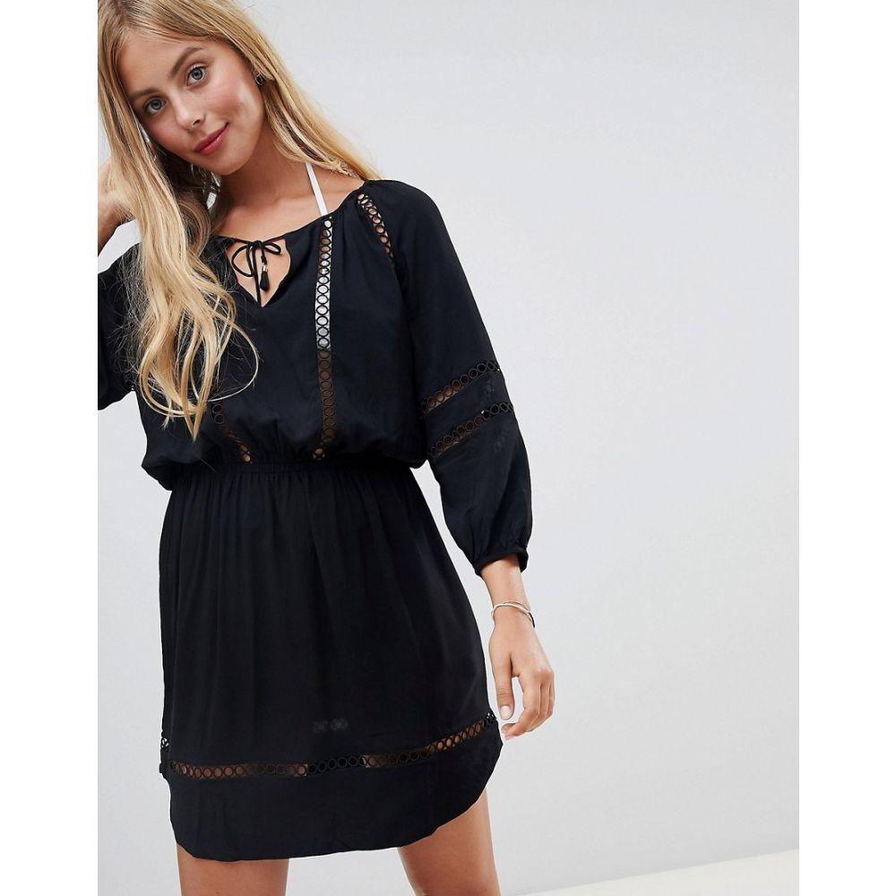 シーフォリー Seafolly レディース 水着・ビーチウェア ビーチウェア【lace insert beach dress】Black