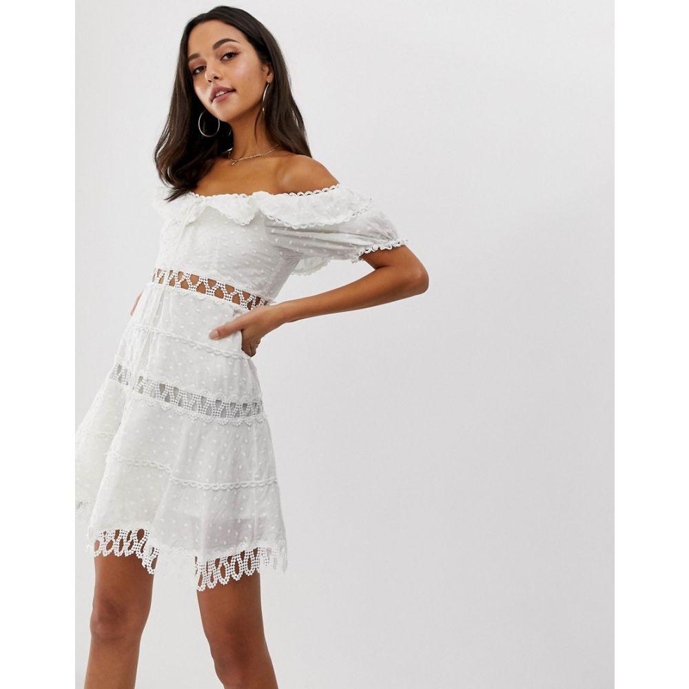 フォーエバーユニーク Forever Unique レディース ワンピース・ドレス ワンピース【embroidered off shoulder mini dress】White