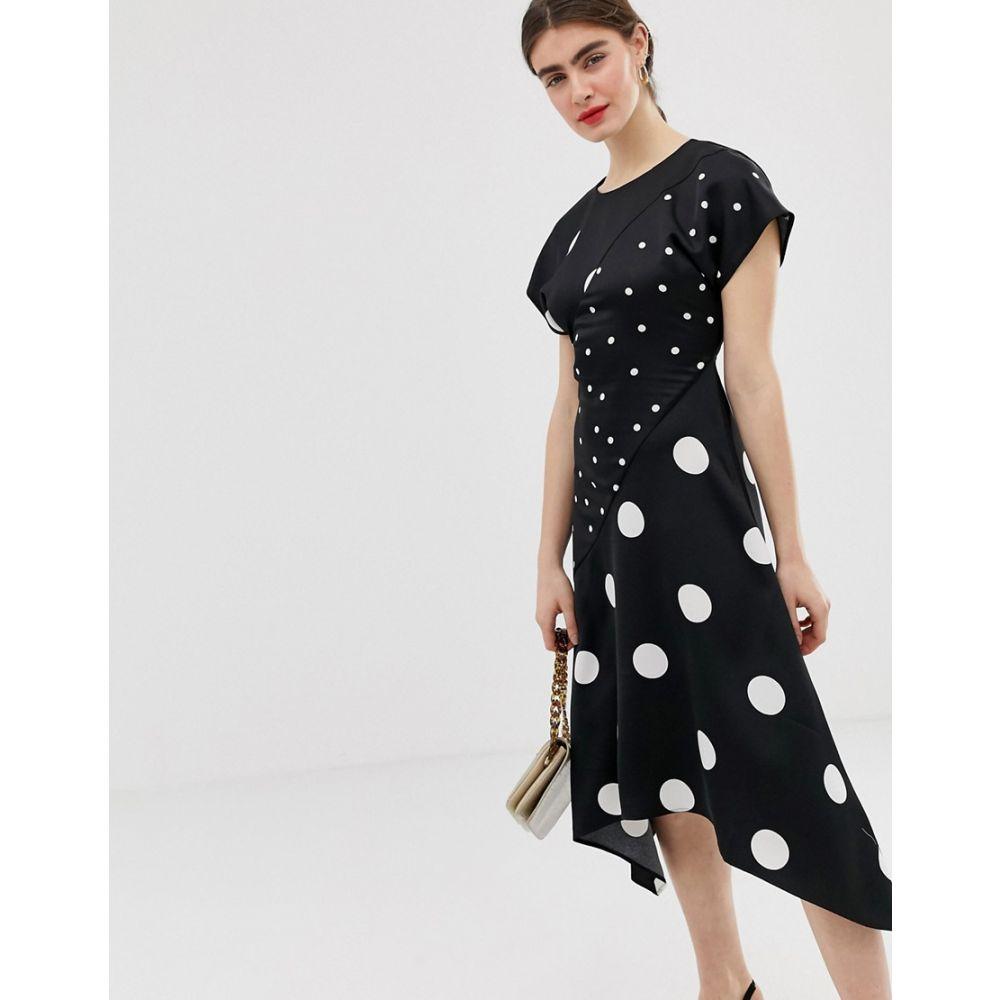 ウェアハウス Warehouse レディース ワンピース・ドレス ワンピース【midi dress with hanky hem in polka】Black