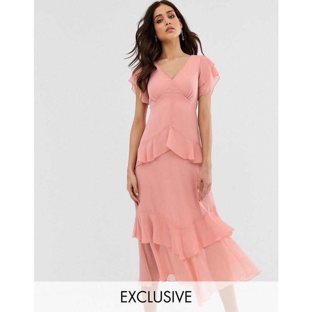 ウェアハウス Warehouse レディース ワンピース・ドレス ワンピース【tiered maxi dress with ruffles in pink】Pink