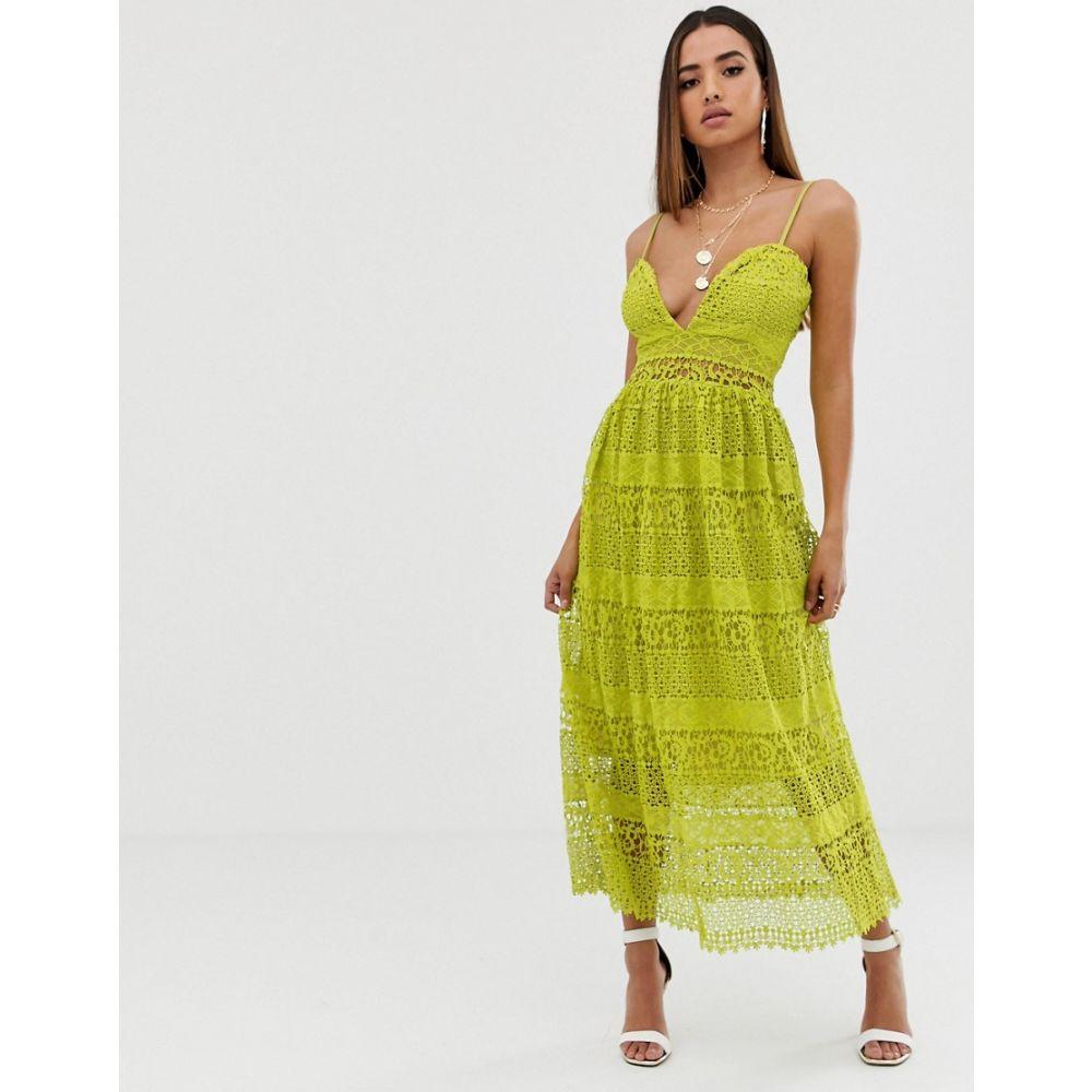 ミスガイデッド Missguided レディース ワンピース・ドレス ワンピース【strappy lace tiered midi dress in yellow】Multi