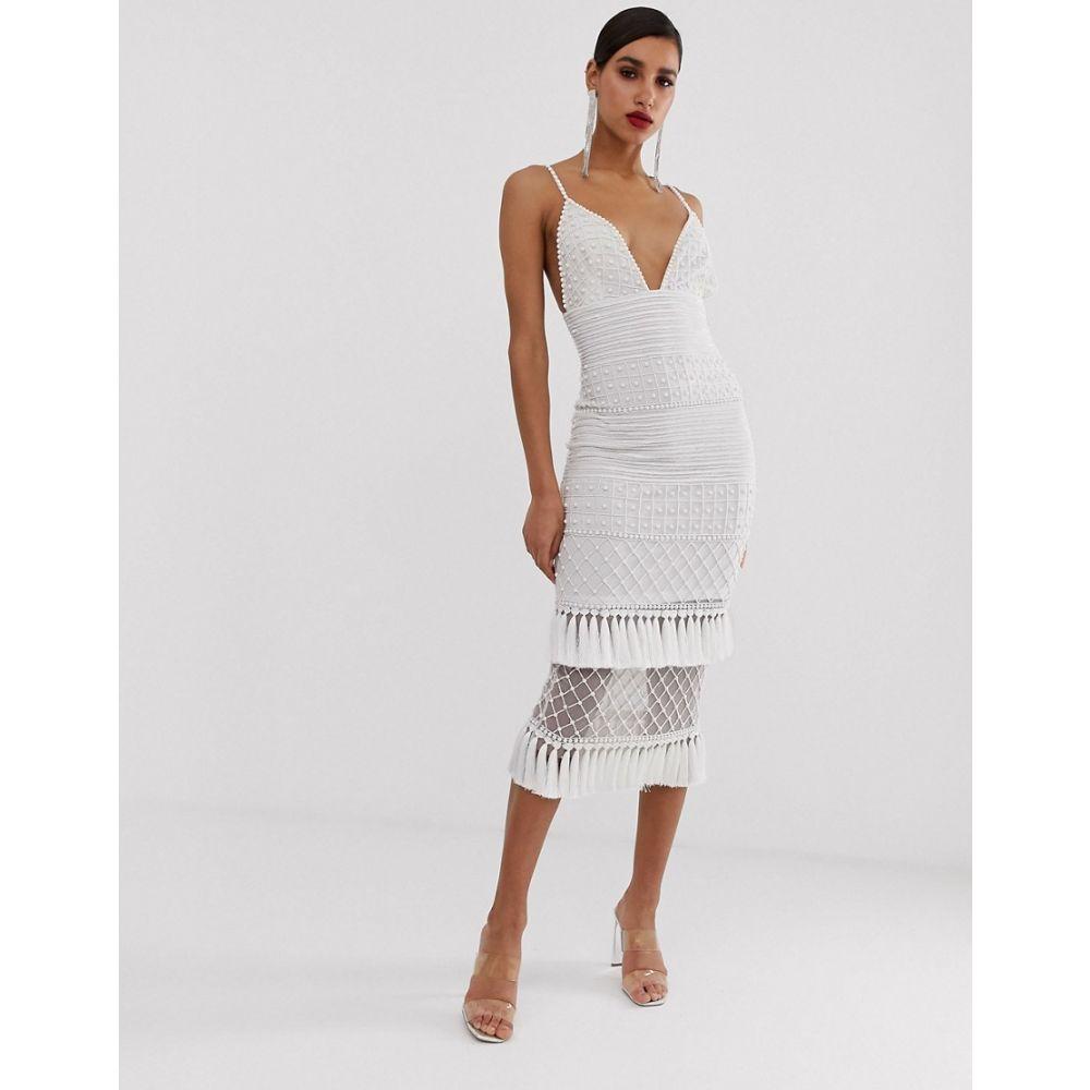ミスガイデッド Missguided レディース ワンピース・ドレス ワンピース【Peace and Love maxi dress in white with embellished hem】White