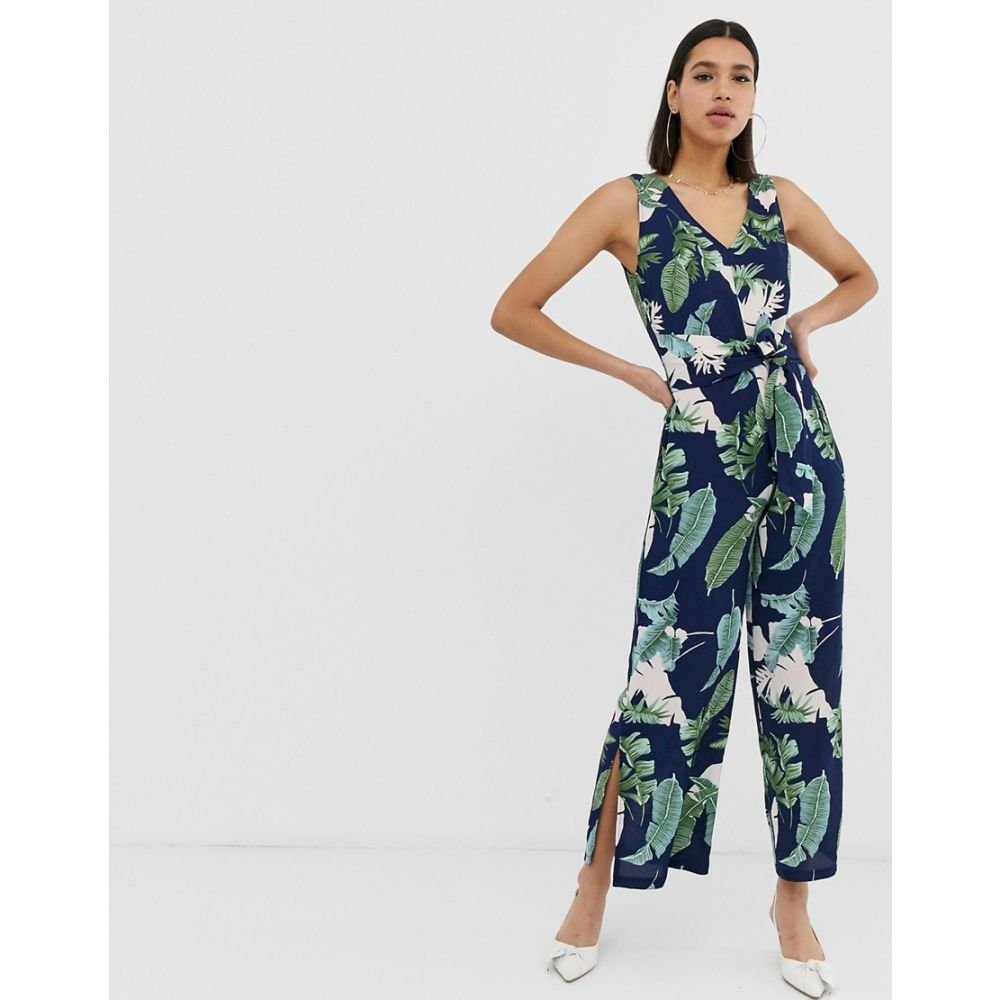 アックスパリス AX Paris レディース ワンピース・ドレス オールインワン【tropical print culotte jumpsuit】Navy