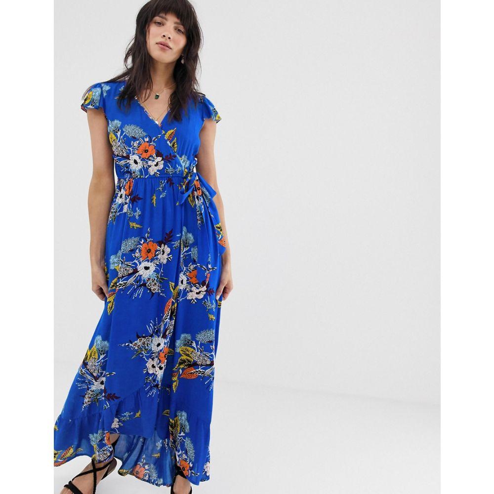 バンド オブ ジプシーズ Band of Gypsies レディース ワンピース・ドレス ワンピース【wrap front maxi dress in blue floral print】Blue multi