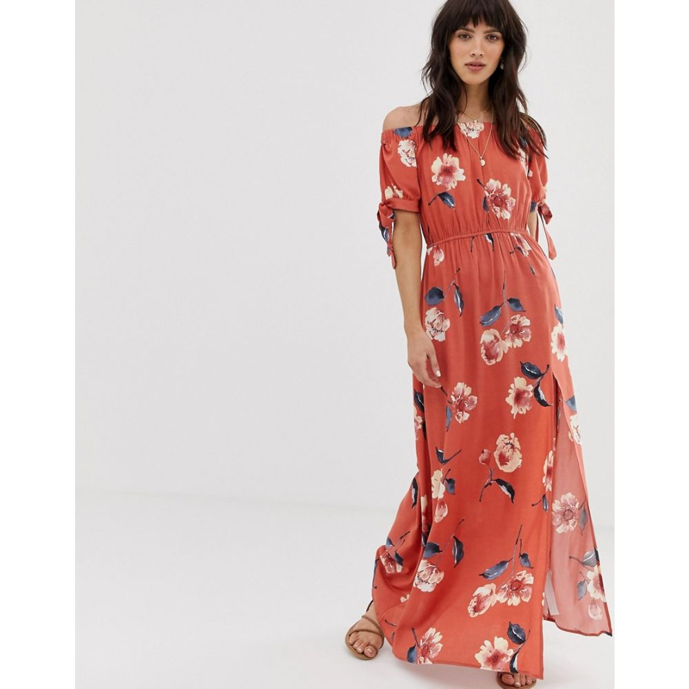 バンド オブ ジプシーズ Band of Gypsies レディース ワンピース・ドレス ワンピース【off shoulder maxi dress with tie sleeves in red floral print】Red multi