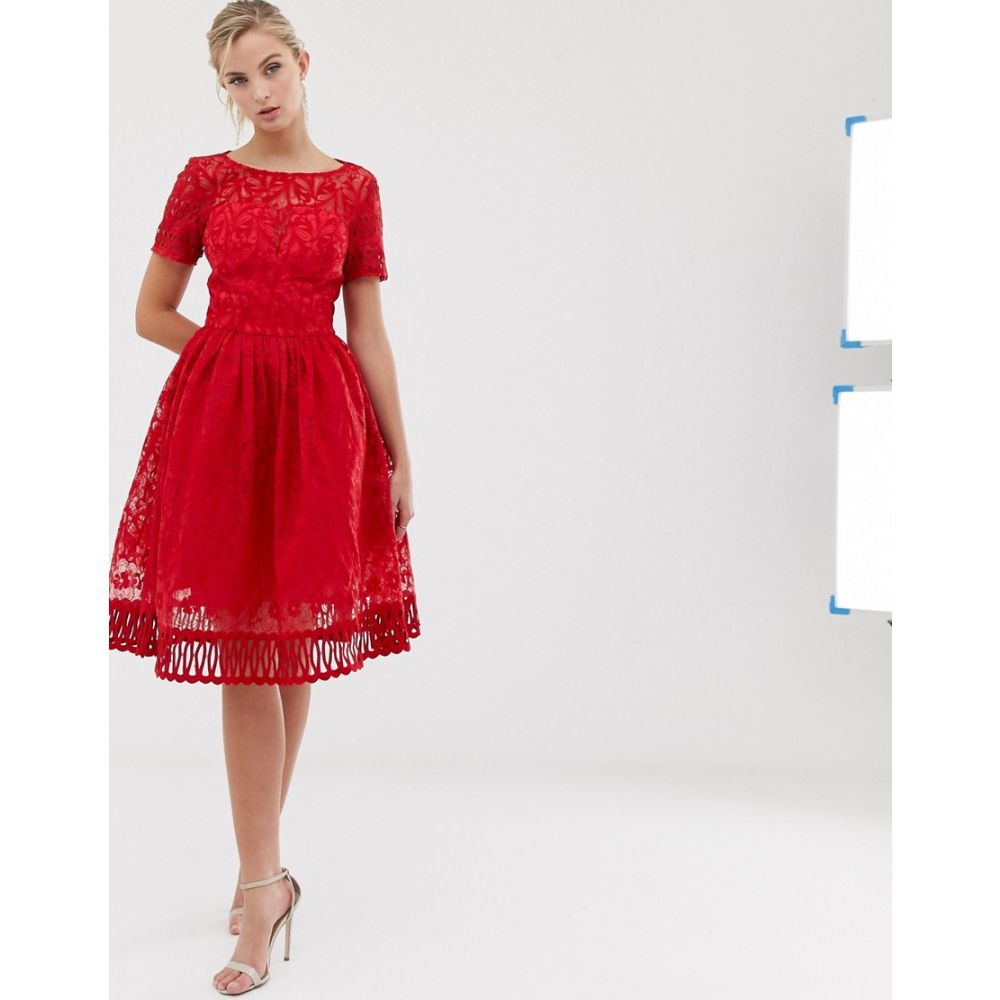 チチロンドン Chi Chi London レディース ワンピース・ドレス ワンピース premium lace prom dress with cutwork hem in red Red1TlFKJ3c