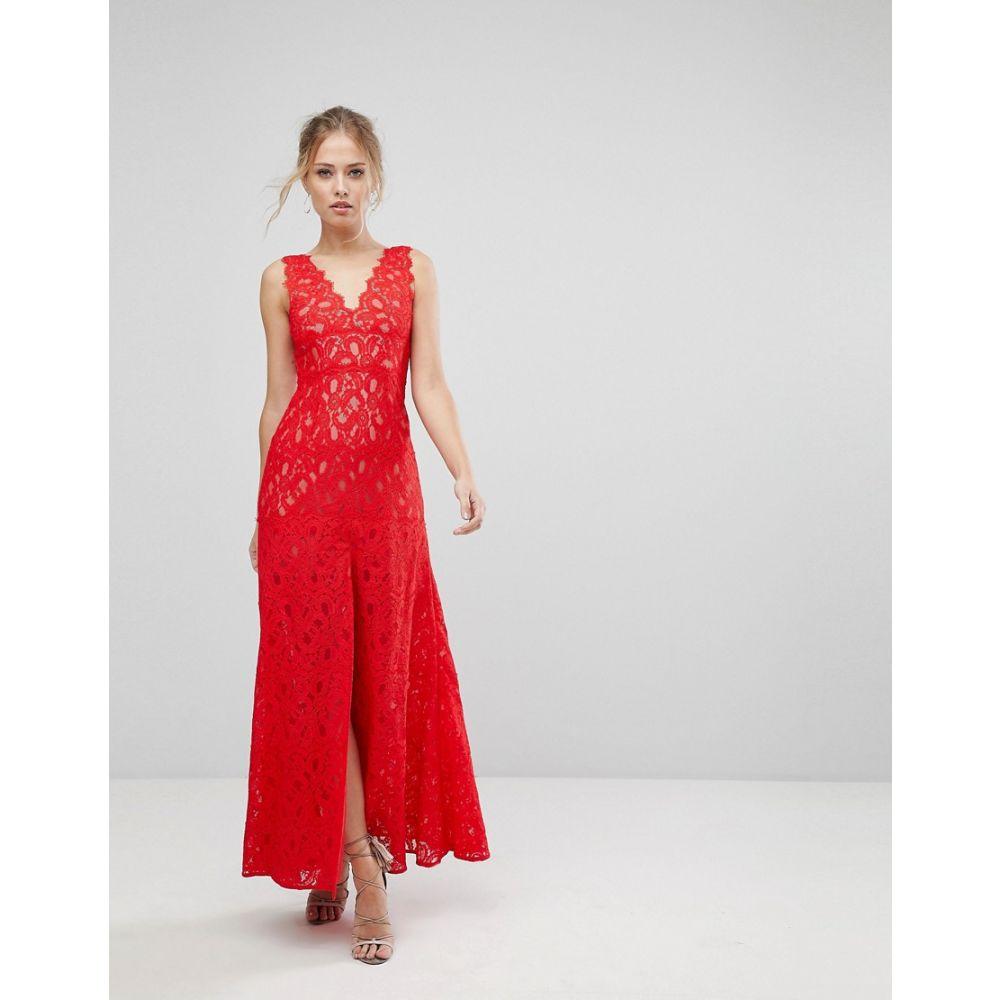 アイジェク レディース ワンピース・ドレス ワンピース【Aijek Maxi Dress In Scallop Lace With Front Slit】Rouge