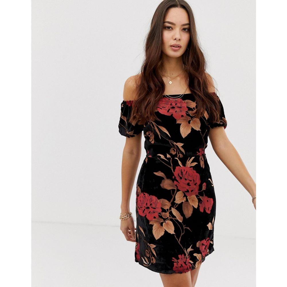 ムーンリバー Moon River レディース ワンピース・ドレス ワンピース【off shoulder floral mini dress】Red floral