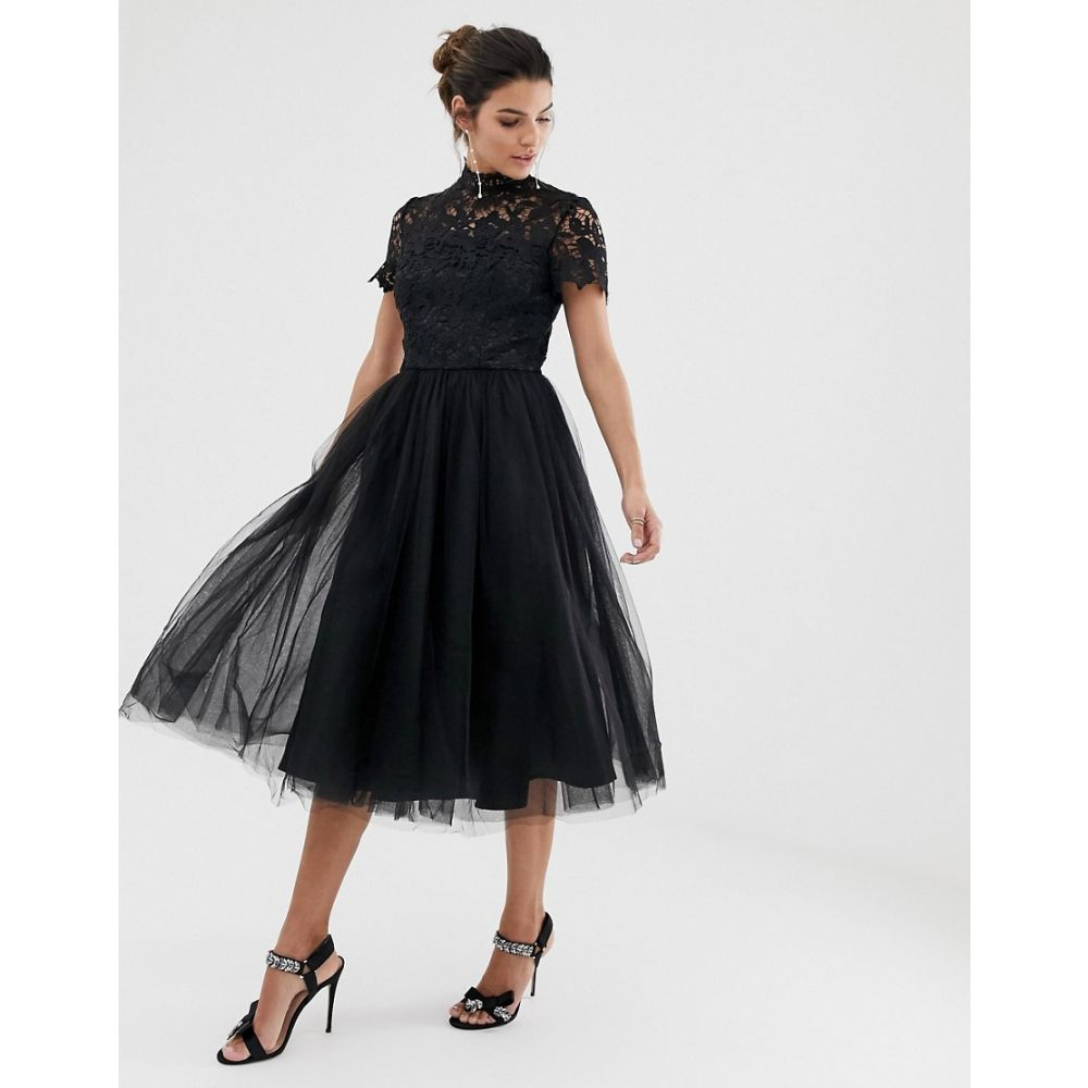 チチロンドン Chi Chi London レディース ワンピース・ドレス ワンピース【high neck lace midi dress with tulle skirt in black】Black