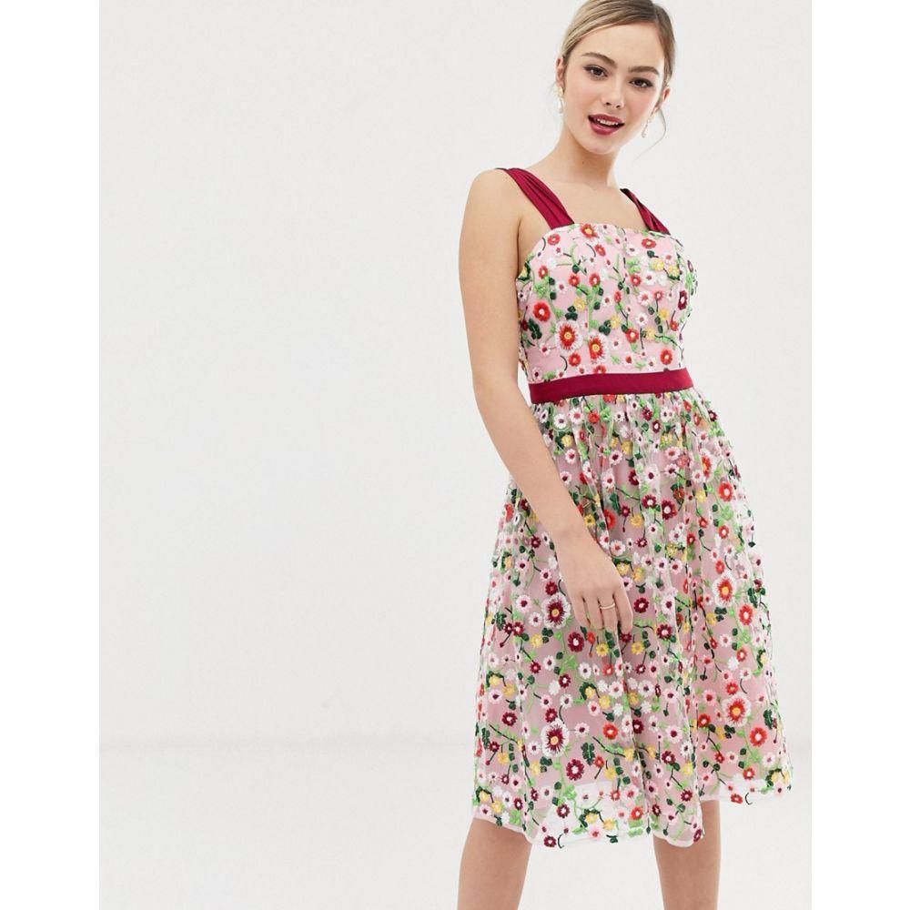 チチロンドン Chi Chi London レディース ワンピース・ドレス ワンピース【square neck embroidered midi prom dress in multi】Multi