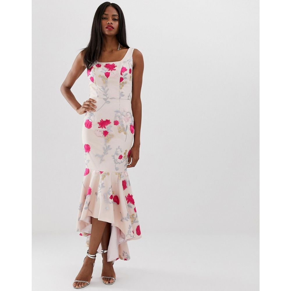 チチロンドン Chi Chi London レディース ワンピース・ドレス ワンピース【floral embroidered high low dress with square neck in neon floral】Pink multi