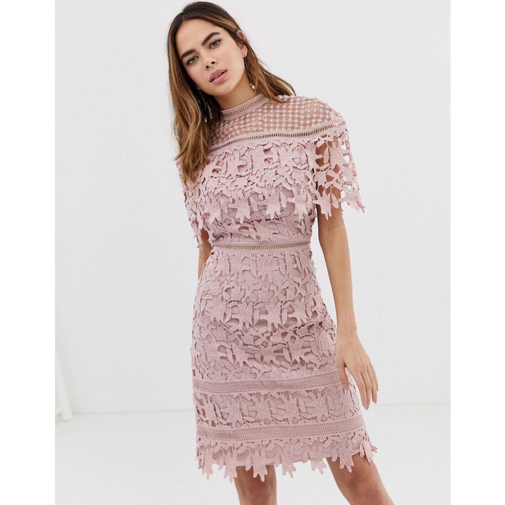 チチロンドン Chi Chi London レディース ワンピース・ドレス ワンピース【high neck lace pencil midi dress in blush pink】Blush