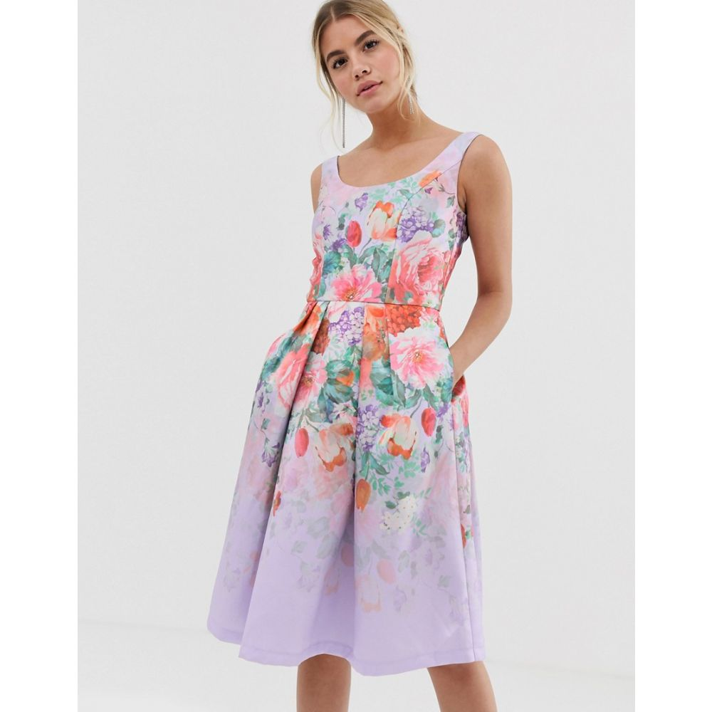 チチロンドン Chi Chi London レディース ワンピース・ドレス ワンピース【satin midi prom dress with deep scoop neck with floral placement】Blue multi